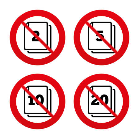 2 5: No, Ban or Stop signs. In pack sheets icons. Quantity per package symbols. 2, 5, 10 and 20 paper units in the pack signs. Prohibition forbidden red symbols. Vector