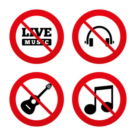 banned: No, Ban or Stop signs. Musical elements icons. Musical note key and Live music symbols. Headphones and acoustic guitar signs. Prohibition forbidden red symbols. Vector
