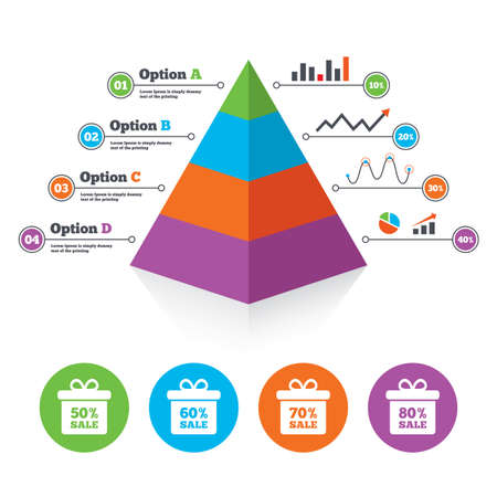 60 70: Pyramid chart template. Sale gift box tag icons. Discount special offer symbols. 50%, 60%, 70% and 80% percent sale signs. Infographic progress diagram. Vector