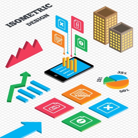 attach: Isometric design. Graph and pie chart. File attention icons. Document delete and pencil edit symbols. Paper clip attach sign. Tall city buildings with windows. Vector Illustration