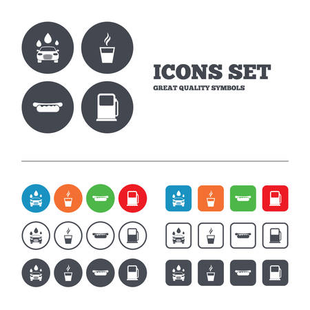 hotdog: Petrol or Gas station services icons. Automated car wash signs. Hotdog sandwich and hot coffee cup symbols. Web buttons set. Circles and squares templates. Vector Illustration