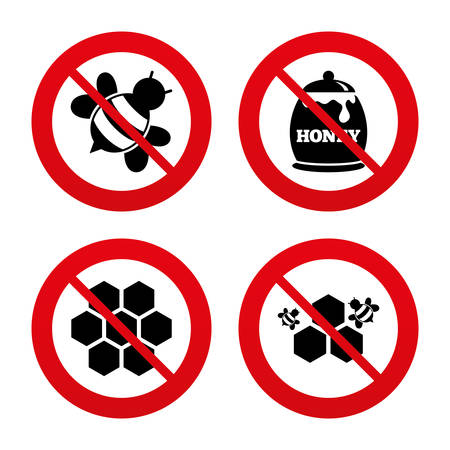 fructose: No, Ban or Stop signs. Honey icon. Honeycomb cells with bees symbol. Sweet natural food signs. Prohibition forbidden red symbols. Vector