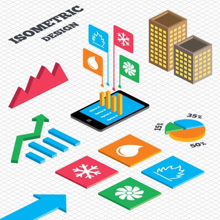 Isometric design. Graph and pie chart. HVAC icons. Heating, ventilating and air conditioning symbols. Water supply. Climate control technology signs. Tall city buildings with windows. Vector