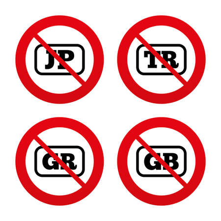 gb: No, Ban or Stop signs. Language icons. JP, TR, GR and GB translation symbols. Japan, Turkey, Greece and England languages. Prohibition forbidden red symbols. Vector
