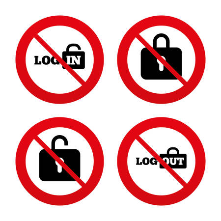 lock out: No, Ban or Stop signs. Login and Logout icons. Sign in or Sign out symbols. Lock icon. Prohibition forbidden red symbols. Vector