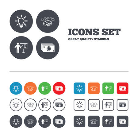 standing lamp: Presentation billboard, brainstorm icons. Cash money and lamp idea signs. Man standing with pointer. Scheme and Diagram symbol. Web buttons set. Circles and squares templates. Vector