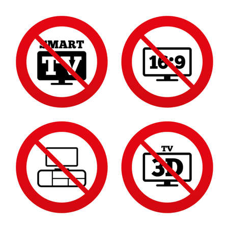3d mode: No, Ban or Stop signs. Smart TV mode icon. Aspect ratio 16:9 widescreen symbol. 3D Television and TV table signs. Prohibition forbidden red symbols. Vector