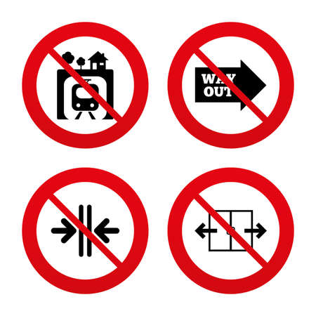 no way out: No, Ban or Stop signs. Underground metro train icon. Automatic door symbol. Way out arrow sign. Prohibition forbidden red symbols. Vector