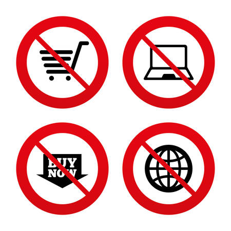 ultrabook: No, Ban or Stop signs. Online shopping icons. Notebook pc, shopping cart, buy now arrow and internet signs. WWW globe symbol. Prohibition forbidden red symbols. Vector