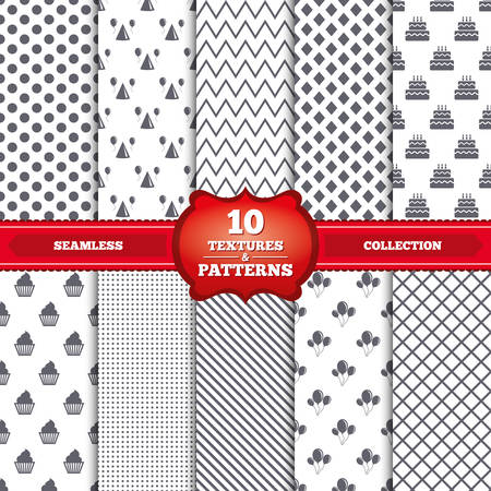 Repeatable patterns and textures. Birthday party icons. Cake, balloon, hat and muffin signs. Celebration symbol. Cupcake sweet food. Gray dots, circles, lines on white background. Vector Banco de Imagens - 39178461