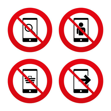 phone ban: No, Ban or Stop signs. Phone icons. Smartphone video call sign. Search, online shopping symbols. Outcoming call. Prohibition forbidden red symbols. Vector