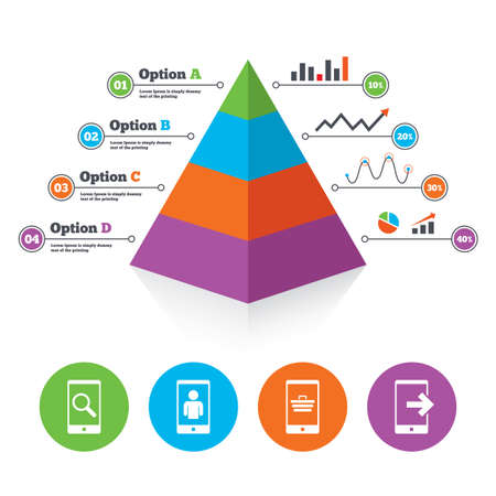 outcoming: Pyramid chart template. Phone icons. Smartphone video call sign. Search, online shopping symbols. Outcoming call. Infographic progress diagram. Vector Illustration