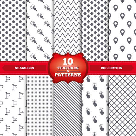 pin stripe: Repeatable patterns and textures. Mouse cursor icon. Hand or Flag pointer symbols. Map location marker sign. Gray dots, circles, lines on white background. Vector