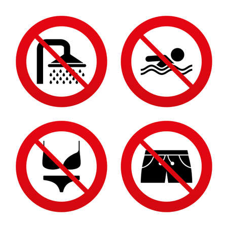 no swimming: No, Ban or Stop signs. Swimming pool icons. Shower water drops and swimwear symbols. Human swims in sea waves sign. Trunks and women underwear. Prohibition forbidden red symbols. Vector