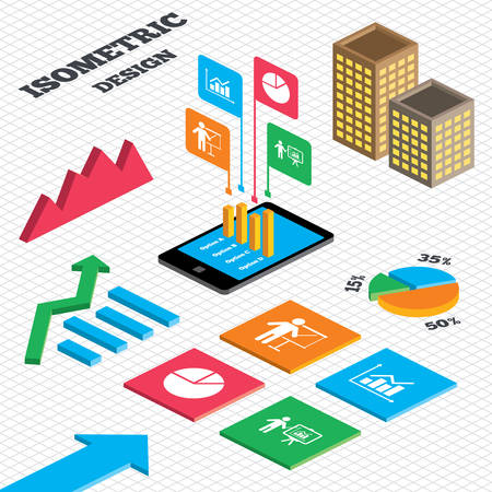tall man: Isometric design. Graph and pie chart. Diagram graph Pie chart icon. Presentation billboard symbol. Supply and demand. Man standing with pointer. Tall city buildings with windows. Vector