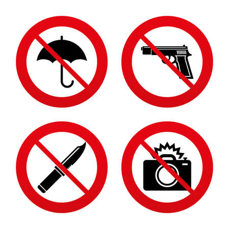 No, Ban or Stop signs. Gun weapon icon.Knife, umbrella and photo camera with flash signs. Edged hunting equipment. Prohibition objects. Prohibition forbidden red symbols. Vector Vector