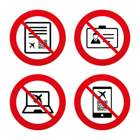 no pase: Signos No, Ban o detenerse. QR c�digo de exploraci�n en icono de tel�fono inteligente. Tarjeta de embarque se�al de vuelo. ID Identidad s�mbolo insignia tarjeta. Prohibici�n prohibido s�mbolos rojos. Vector