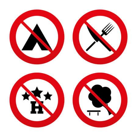fork in road: No, Ban or Stop signs. Food, hotel, camping tent and tree icons. Knife and fork. Break down tree. Road signs. Prohibition forbidden red symbols. Vector Illustration