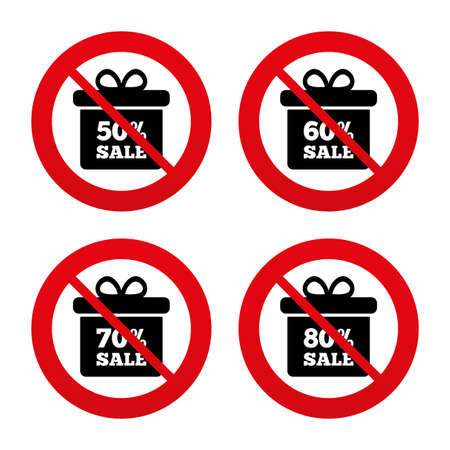60 70: No, Ban or Stop signs. Sale gift box tag icons. Discount special offer symbols. 50%, 60%, 70% and 80% percent sale signs. Prohibition forbidden red symbols. Vector