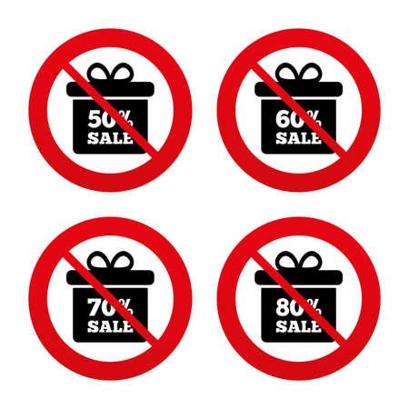 50 60: Signos No, Ban o detenerse. Iconos de etiqueta cuadro Venta de regalos. Descuento s�mbolos oferta especial. 50%, 60%, 70% y el 80% por ciento de signos de venta. Prohibici�n prohibido s�mbolos rojos. Vector