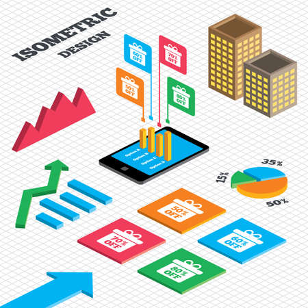 60 70: Isometric design. Graph and pie chart. Sale gift box tag icons. Discount special offer symbols. 50%, 60%, 70% and 80% percent off signs. Tall city buildings with windows. Vector