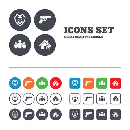 security token: Security agency icons. Home shield protection symbols. Gun weapon sign. Group of people or Share. Web buttons set. Circles and squares templates. Vector Illustration