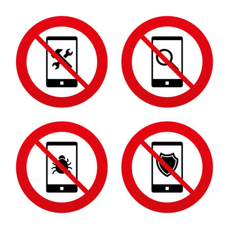 phone ban: No, Ban or Stop signs. Smartphone icons. Shield protection, repair, software bug signs. Search in phone. Hammer with wrench service symbol. Prohibition forbidden red symbols. Vector Illustration