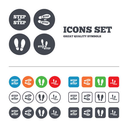 instruction: Step by step icons. Footprint shoes symbols. Instruction guide concept. Web buttons set. Circles and squares templates. Vector Illustration