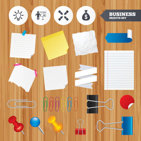 standing lamp: Paper sheets. Office business stickers, pin, clip. Presentation billboard icon. Dollar cash money and lamp idea signs. Man standing with pointer. Teamwork symbol. Squared, lined pages. Vector