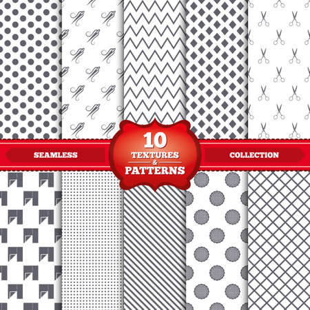 gray thread: Repeatable patterns and textures. Textile cloth piece icon. Scissors hairdresser symbol. Needle with thread. Tailor symbol. Canvas for embroidery. Gray dots, circles, lines on white background. Vector