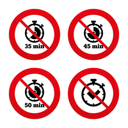 45 50: No, Ban or Stop signs. Timer icons. 35, 45 and 50 minutes stopwatch symbols. Check or Tick mark. Prohibition forbidden red symbols. Vector