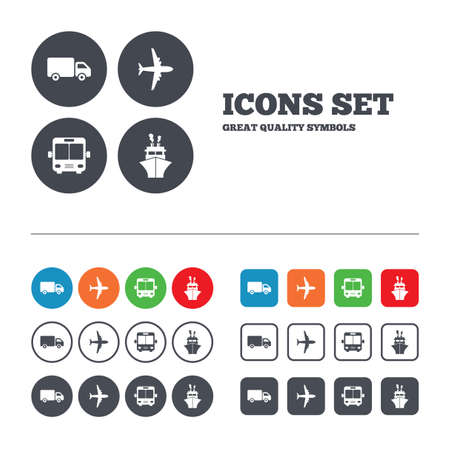 mail truck: Transport icons. Truck, Airplane, Public bus and Ship signs. Shipping delivery symbol. Air mail delivery sign. Web buttons set. Circles and squares templates. Vector
