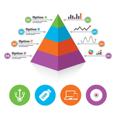 Pyramid chart template. Usb flash drive icons. Notebook or Laptop pc symbols. Smartphone device. CD or DVD sign. Compact disc. Infographic progress diagram. Vector