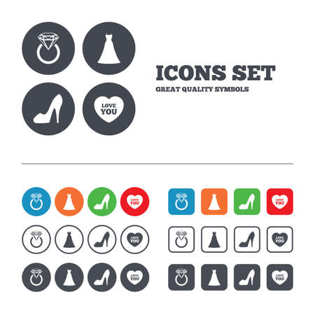 web engagement: Wedding dress icon. Womens shoe and love heart symbols. Wedding or engagement day ring with diamond sign. Web buttons set. Circles and squares templates. Vector
