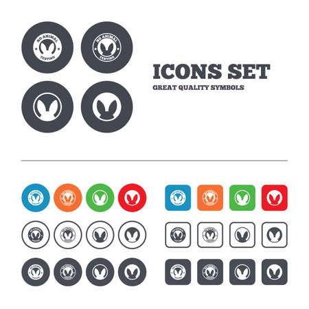 experimentation: No animals testing icons. Non-human experiments signs symbols. Web buttons set. Circles and squares templates. Vector