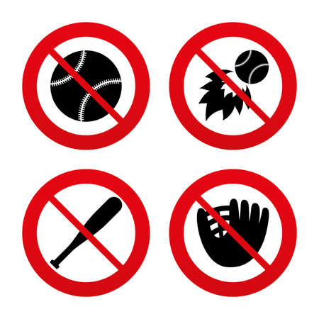 No, Ban or Stop signs. Baseball sport icons. Ball with glove and bat signs. Fireball symbol. Prohibition forbidden red symbols. Vector Vector