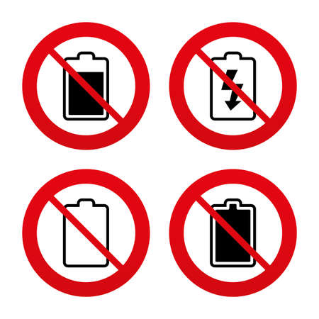 electrochemical: No, Ban or Stop signs. Battery charging icons. Electricity signs symbols. Charge levels: full, empty. Prohibition forbidden red symbols. Vector