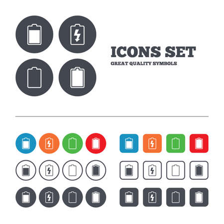electrochemical: Battery charging icons. Electricity signs symbols. Charge levels: full, empty. Web buttons set. Circles and squares templates. Vector
