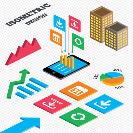 Isometric Design Graph And Pie Chart Download And Backup Data