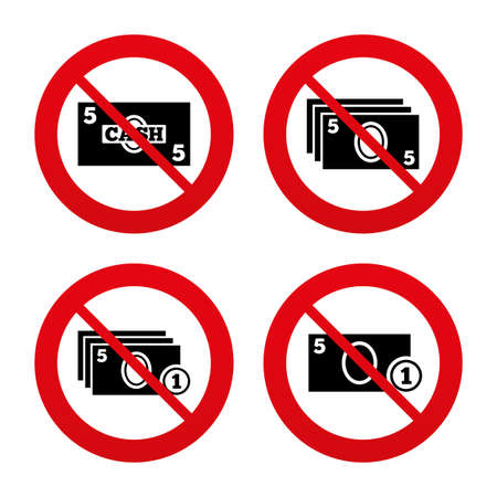 withdrawals: No, Ban or Stop signs. Businessman case icons. Currency with coins sign symbols. Prohibition forbidden red symbols. Vector