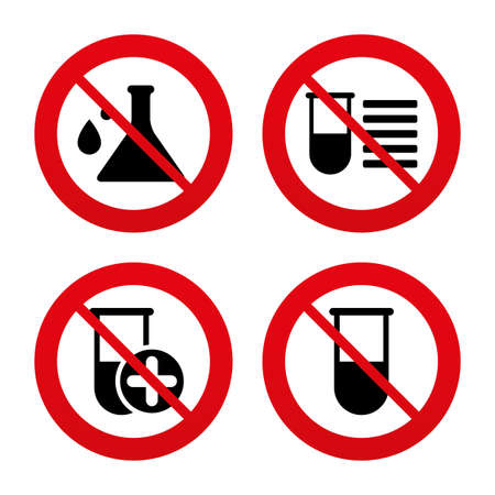 caution chemistry: No, Ban or Stop signs. Chemistry bulb with drops icon. Medical test signs. Laboratory equipment symbols. Prohibition forbidden red symbols. Vector
