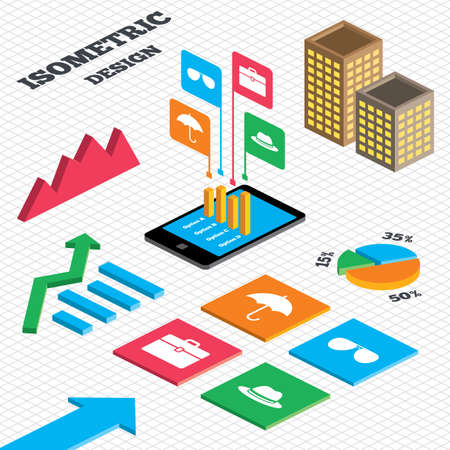 tall hat: Isometric design. Graph and pie chart. Clothing accessories icons. Umbrella and sunglasses signs. Headdress hat with business case symbols. Tall city buildings with windows. Vector Illustration