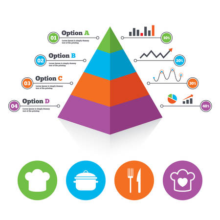stew: Pyramid chart template. Chief hat and cooking pan icons. Fork and knife signs. Boil or stew food symbols. Infographic progress diagram. Vector Illustration