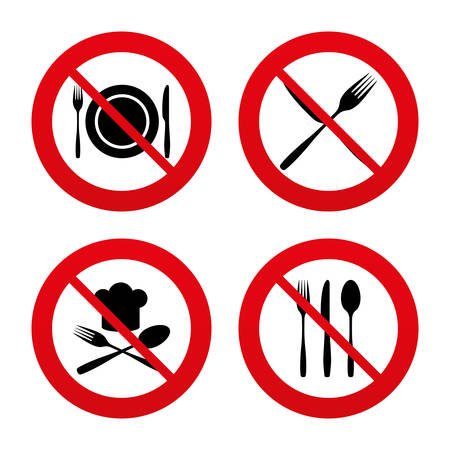 knifes: No, Ban or Stop signs. Plate dish with forks and knifes icons. Chief hat sign. Crosswise cutlery symbol. Dining etiquette. Prohibition forbidden red symbols. Vector Illustration
