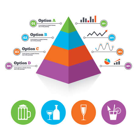 Pyramid chart template. Alcoholic drinks icons. Champagne sparkling wine and beer symbols. Wine glass and cocktail signs. Infographic progress diagram. Vector Vector