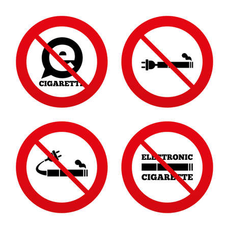 no smoking: No, Ban or Stop signs. E-Cigarette with plug icons. Electronic smoking symbols. Speech bubble sign. Prohibition forbidden red symbols. Vector