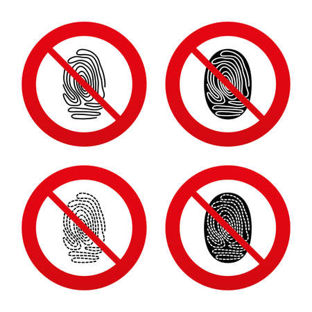 dabs: No, Ban or Stop signs. Fingerprint icons. Identification or authentication symbols. Biometric human dabs signs. Prohibition forbidden red symbols. Vector