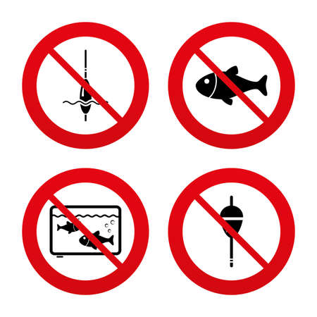 bobber: No, Ban or Stop signs. Fishing icons. Fish with fishermen hook sign. Float bobber symbol. Aquarium icon. Prohibition forbidden red symbols. Vector