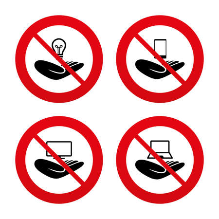 No, Ban or Stop signs. Helping hands icons. Intellectual property insurance symbol. Smartphone, TV monitor and pc notebook sign. Device protection. Prohibition forbidden red symbols. Vector Vector