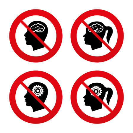 pigtail: No, Ban or Stop signs. Head with brain icon. Male and female human think symbols. Cogwheel gears signs. Woman with pigtail. Prohibition forbidden red symbols. Vector